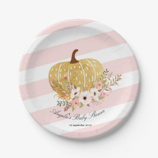 Pink And Gold Pumpkin Baby Show Party Paper Plates at Zazzle