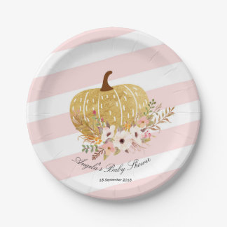 pink pumpkin plates zazzle. Black Bedroom Furniture Sets. Home Design Ideas
