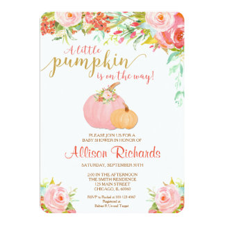 pink and gold pumpkin baby shower invitation, fall card