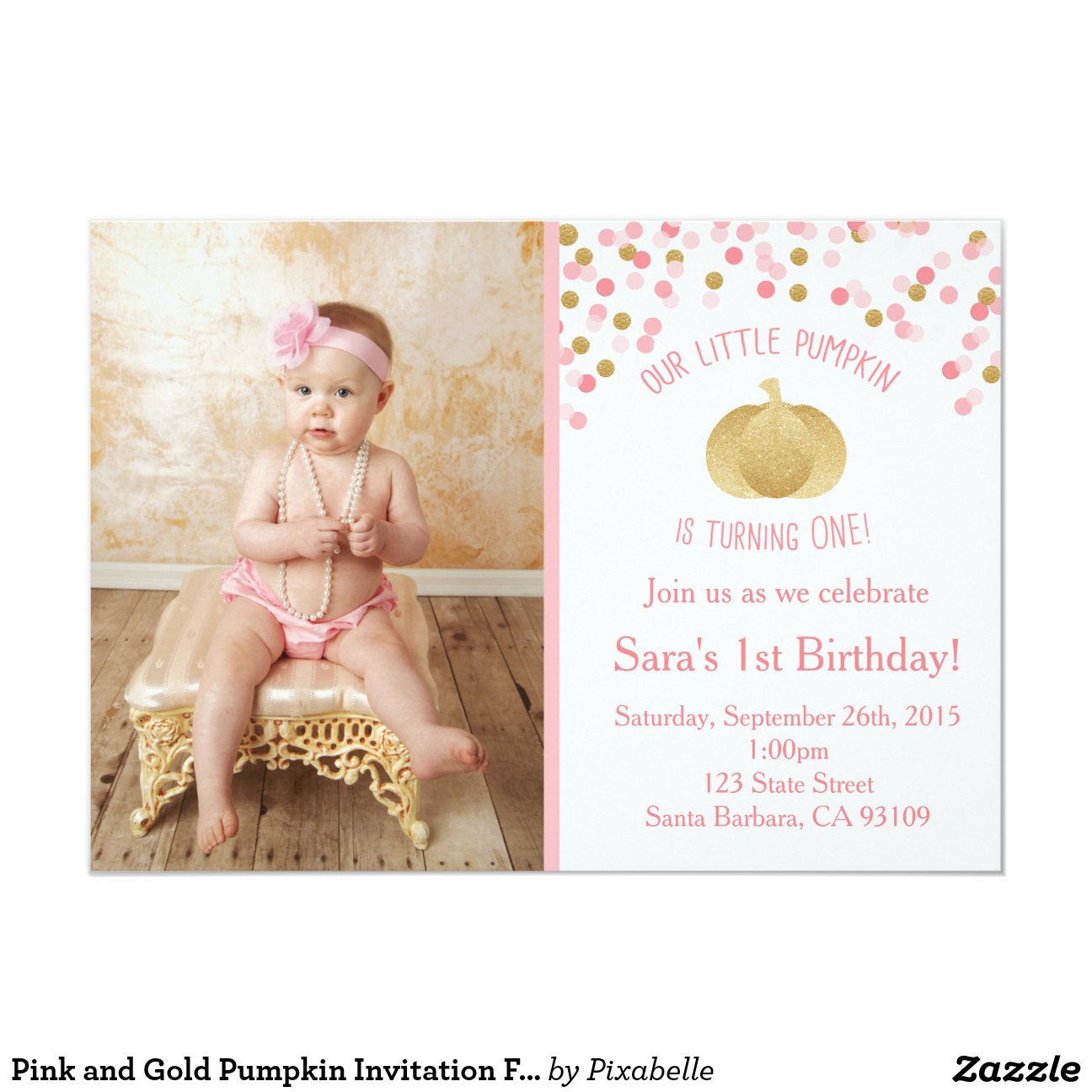 pink_and_gold_pumpkin_invitation_first_birthday ...