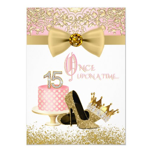 Pink and Gold Quinceanera Birthday Party Invitation