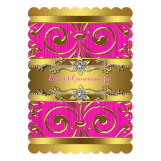 Pink and Gold Quinceanera Card