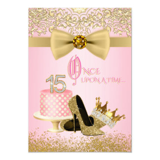 Pink and Gold Quinceanera Princess 15th Birthday Card