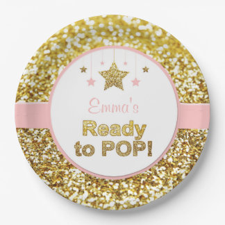 """Pink and gold """"ready to pop"""" baby shower plates"""