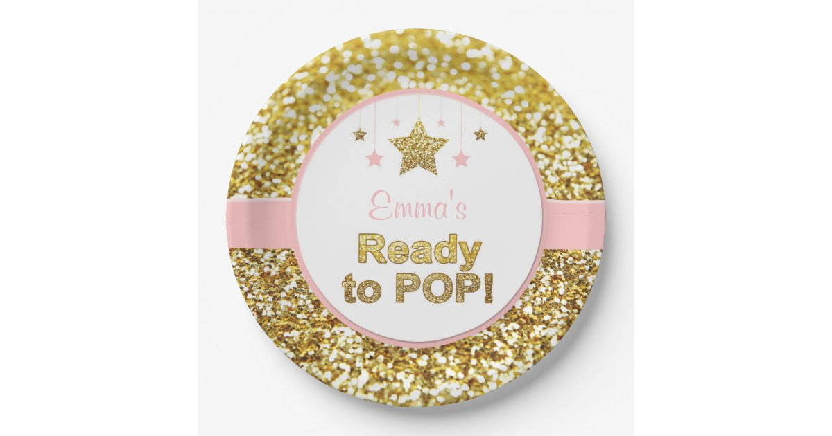 Pink And Gold Quot Ready To Pop Quot Baby Shower Plates Zazzle Com