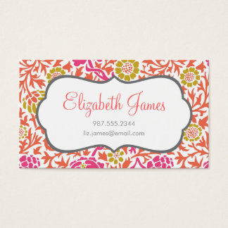 Pink and Gold Retro Floral Damask Business Card