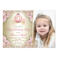 Princess party invitations announcements zazzle pink and gold royal princess photo birthday party filmwisefo