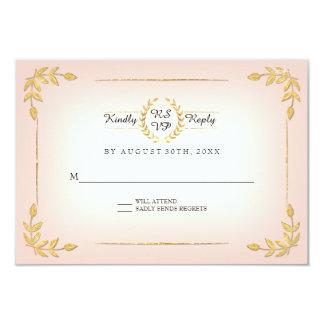 Pink and Gold RSVP Modern Laurel Leaf Wreath Crown Card