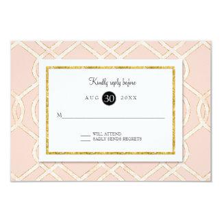 Pink and Gold RSVP Modern Trellis Lattice Pattern Card