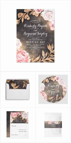 Pink and Gold Rustic Flowers Wreath Wedding Invitation Set Template for a Customized Wedding Suite