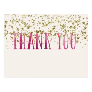 Pink And Gold Sequins Thank You Postcard
