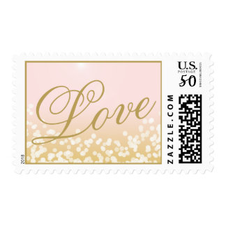 Pink and Gold Sparkle Lights Love Postage