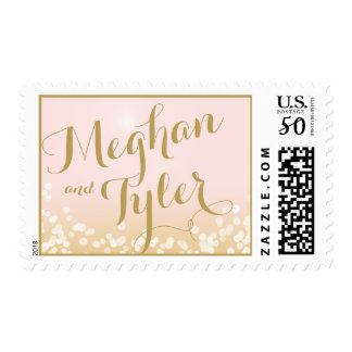 Pink and Gold Sparkle Lights Postage