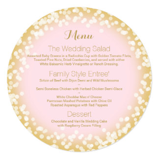 Pink and Gold Sparkle Round Menu Card
