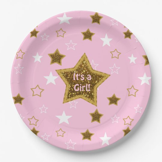 Pink and Gold Stars Its a Girl Paper Plates  sc 1 st  Zazzle & Pink and Gold Stars Its a Girl Paper Plates | Zazzle.com