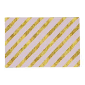 Pink and Gold Stripes Placemat