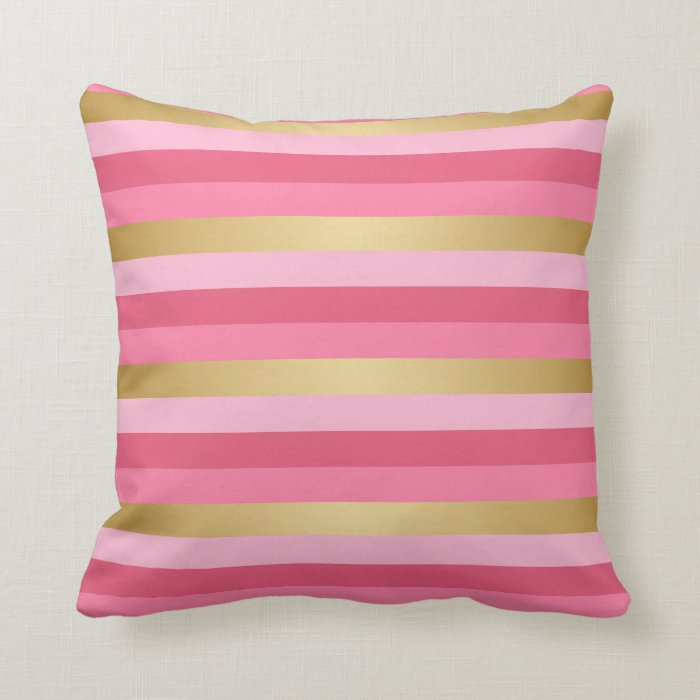 Pink and Gold Stripes Throw Pillow Zazzle