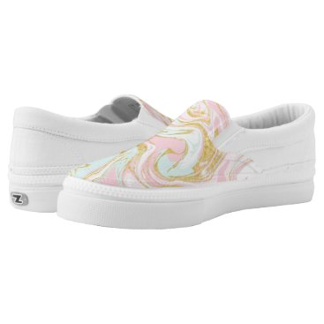 heartlocked Pink and Gold Suminagashi Ink Marble Slip-On Sneakers
