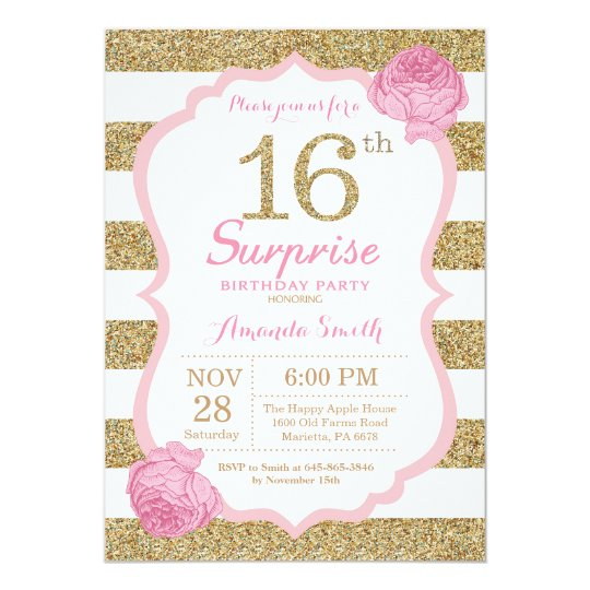 Pink And Gold Surprise 16th Birthday Invitation
