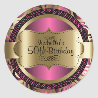 Pink and Gold Swirl Abstract Birthday Classic Round Sticker