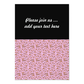 Pink and Gold Swirly Vine Pattern 5x7 Paper Invitation Card