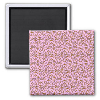 Pink and Gold Swirly Vine Pattern Magnet