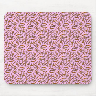 Pink and Gold Swirly Vine Pattern Mouse Pad