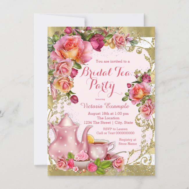 Pink and Gold Tea Party Invitation