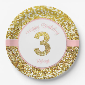 Pink and gold third birthday plates