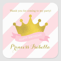 Pink and Gold Tiara Princess Birthday Square Sticker