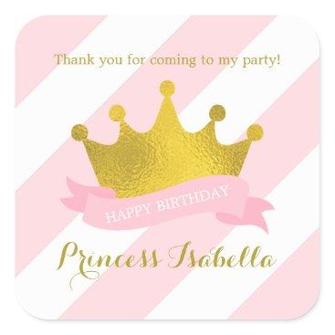 heartlocked Pink and Gold Tiara Princess Birthday Square Sticker