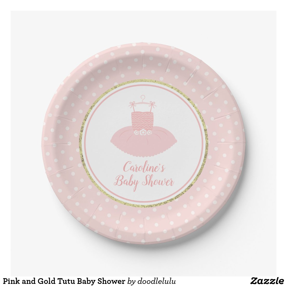 Pink and Gold Tutu Baby Shower Paper Plate