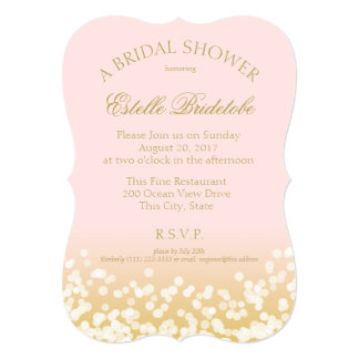 Pink and Gold Twinkle Bridal Shower 5x7 Paper Invitation Card