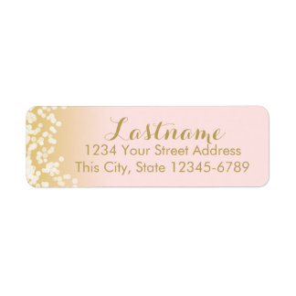 Pink and Gold Twinkle Lights Label