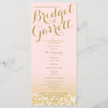 Pink and Gold Twinkle Lights Wedding Program