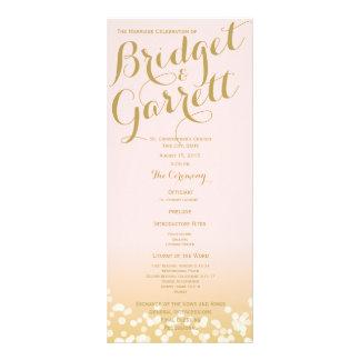Pink and Gold Twinkle Lights Wedding Program Custom Rack Cards