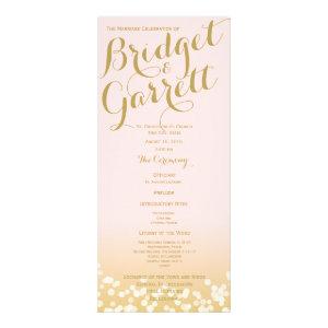 Pink and Gold Twinkle Lights Wedding Program Full Color Rack Card