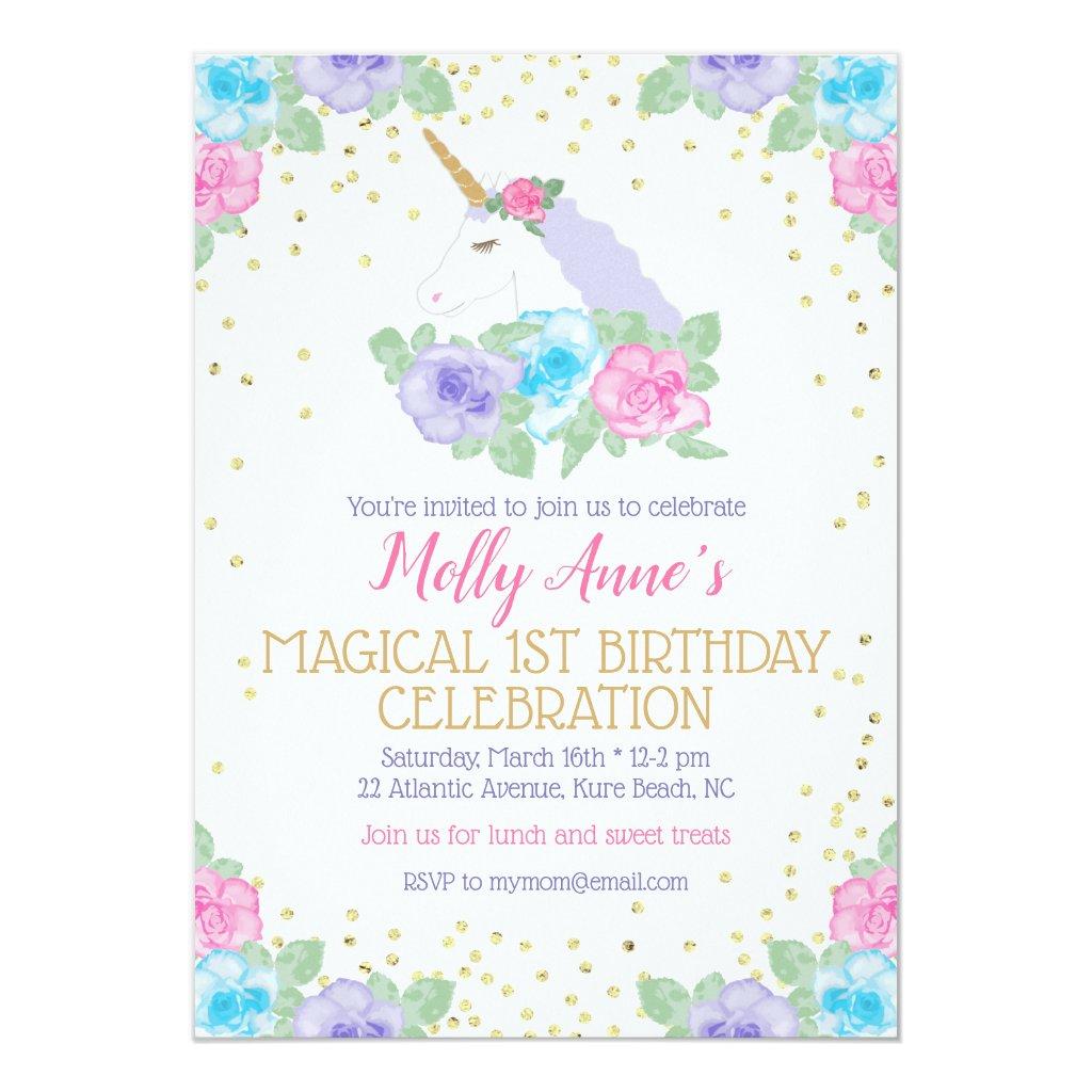 Pink and Gold Unicorn 1st Birthday Invitation