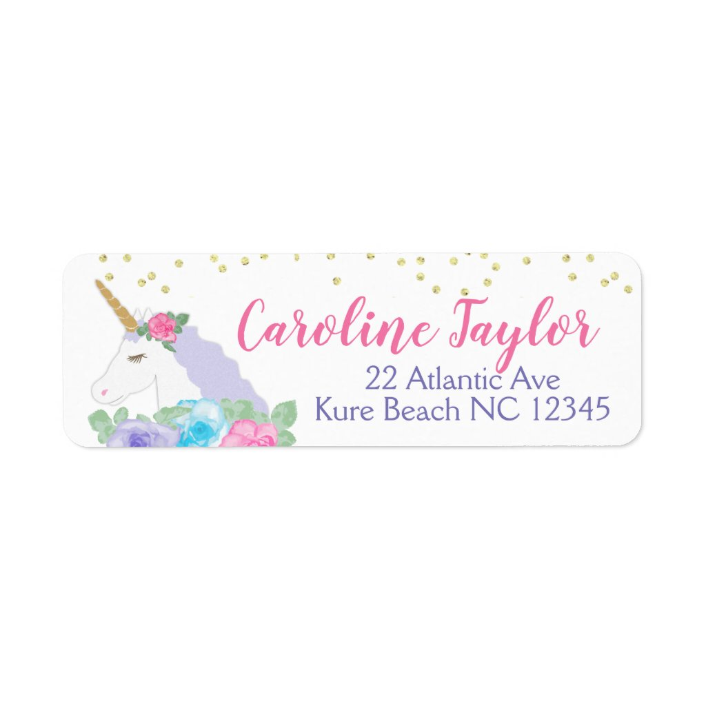 Pink and Gold Unicorn Baby Shower Address Label
