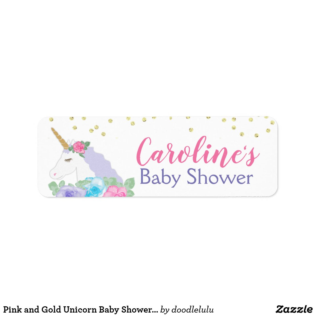 Pink and Gold Unicorn Baby Shower Favor Label