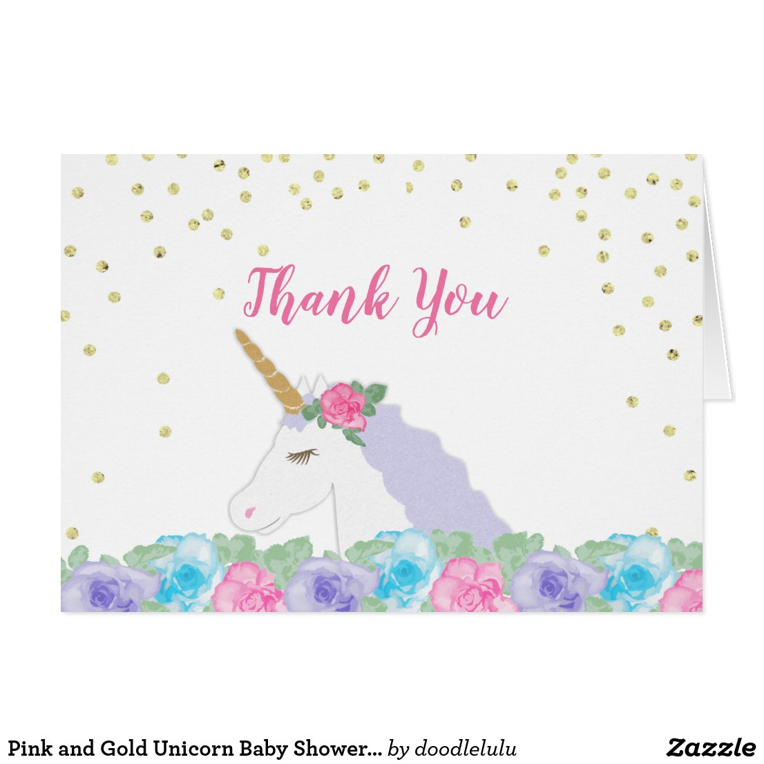 Pink and Gold Unicorn Baby Shower Folded Thank You