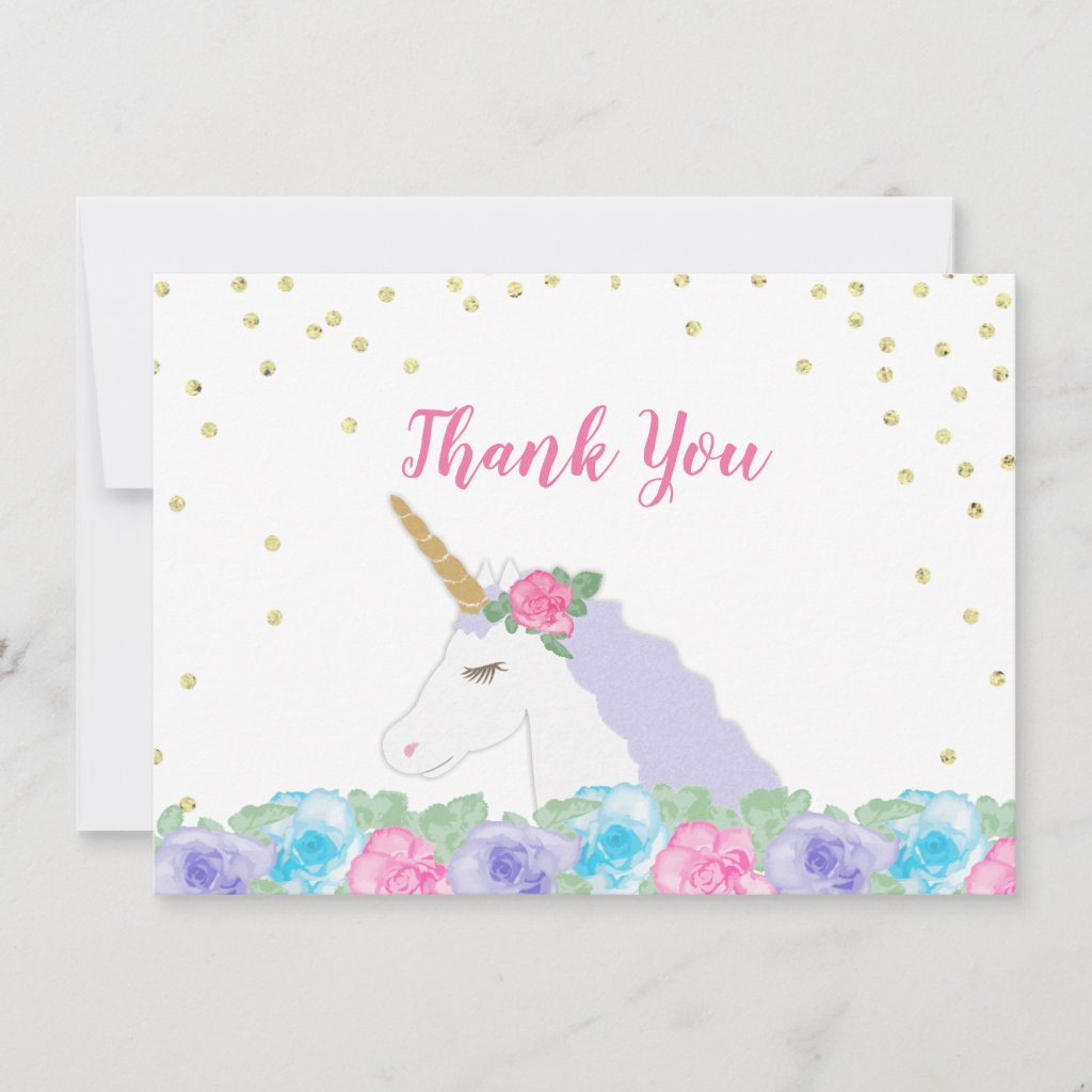 Pink and Gold Unicorn Baby Shower Thank You Card
