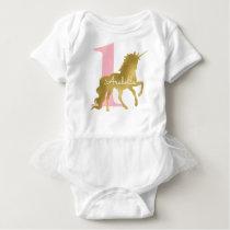 Pink and Gold Unicorn Birthday Baby Bodysuit