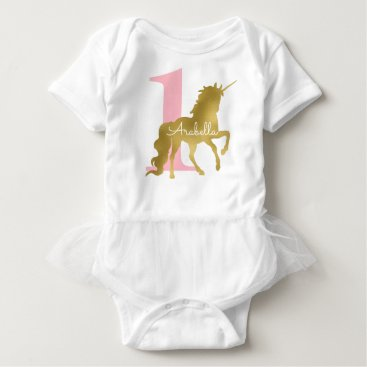 heartlocked Pink and Gold Unicorn Birthday Baby Bodysuit