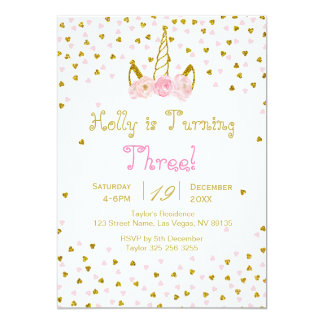 Pink and Gold Unicorn Birthday Invitation