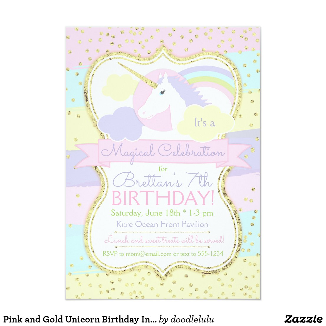 Pink and Gold Unicorn Birthday Invitation