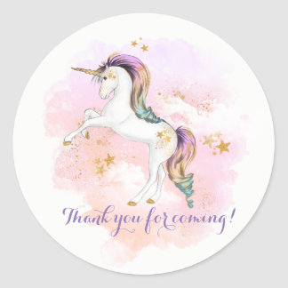 Pink and Gold Unicorn Birthday Party Stickers