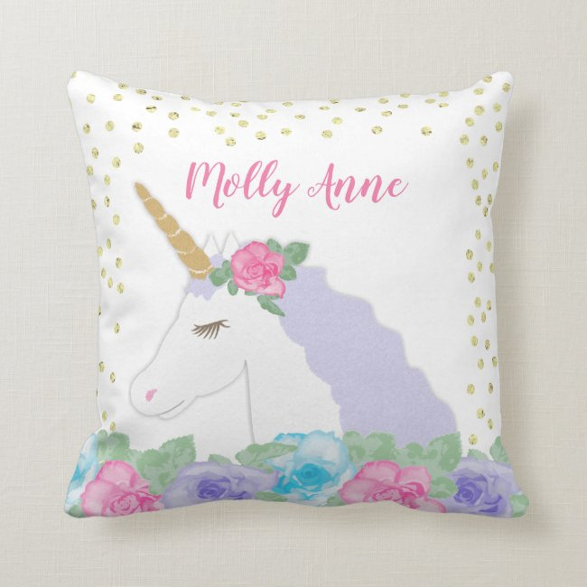 Pink and Gold Unicorn Throw Pillow