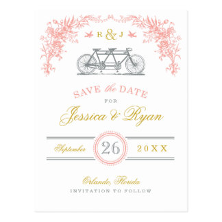 Pink and Gold Vintage Bicycle Save the Date Postcards