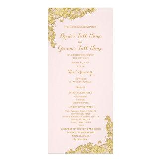 Pink and Gold Vintage Floral Lace Wedding Program